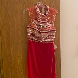 NWT Mori Lee Red Beaded Dress Size 14
